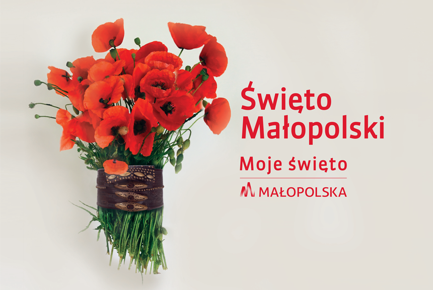 bukiet kwiatów i napis święto małopolski