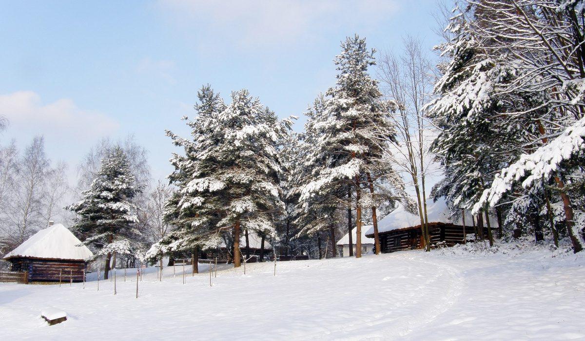 zimowy pejzaż skansenu